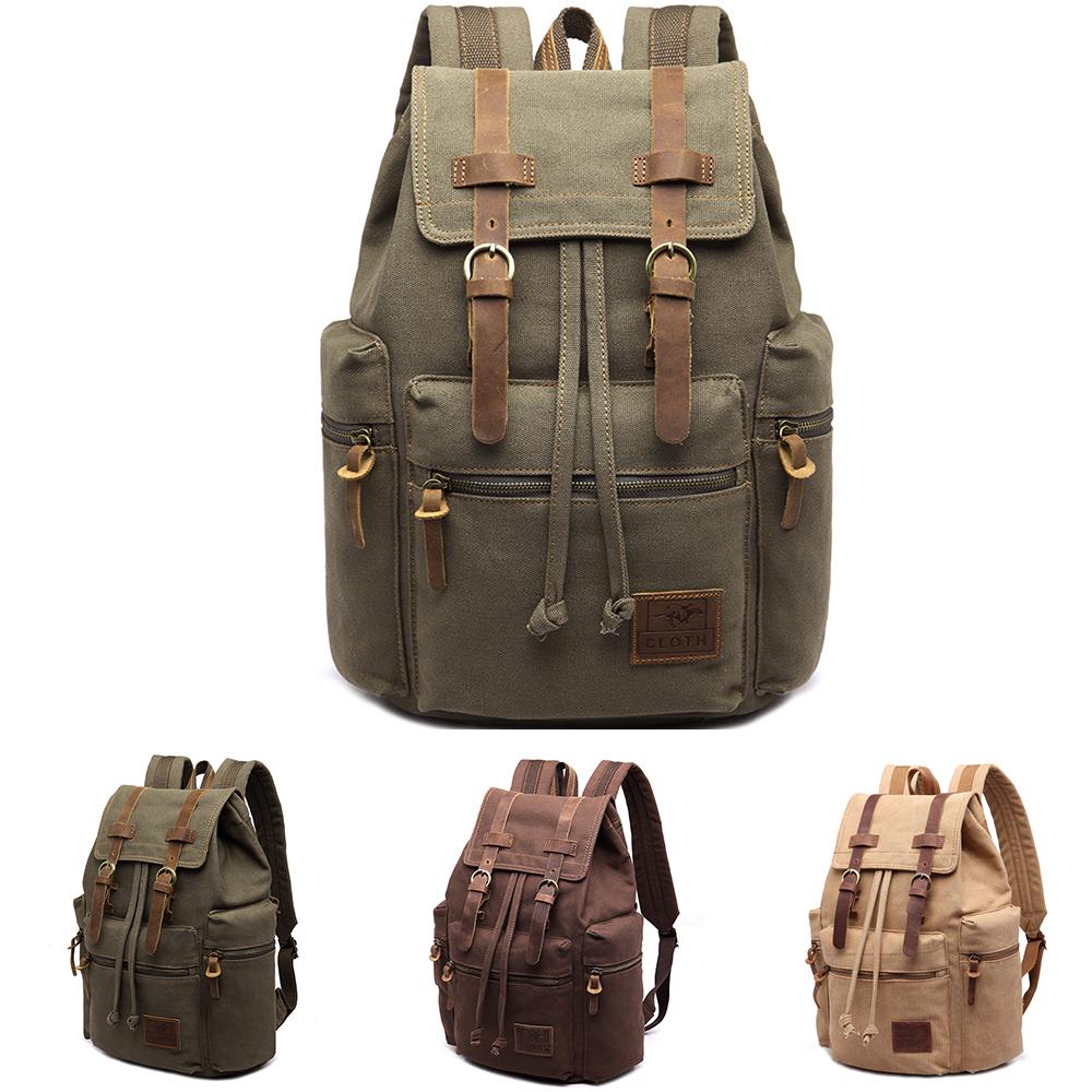 771b972872a9 Details about Vintage Retro Canvas Backpack Travel Sport Rucksack Satchel  Hiking School Bag