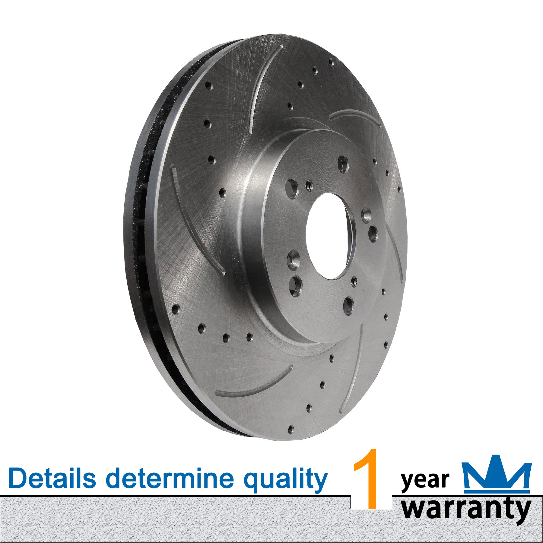 1pc Front Left Drilled Slotted Vented Disc Brake Rotors