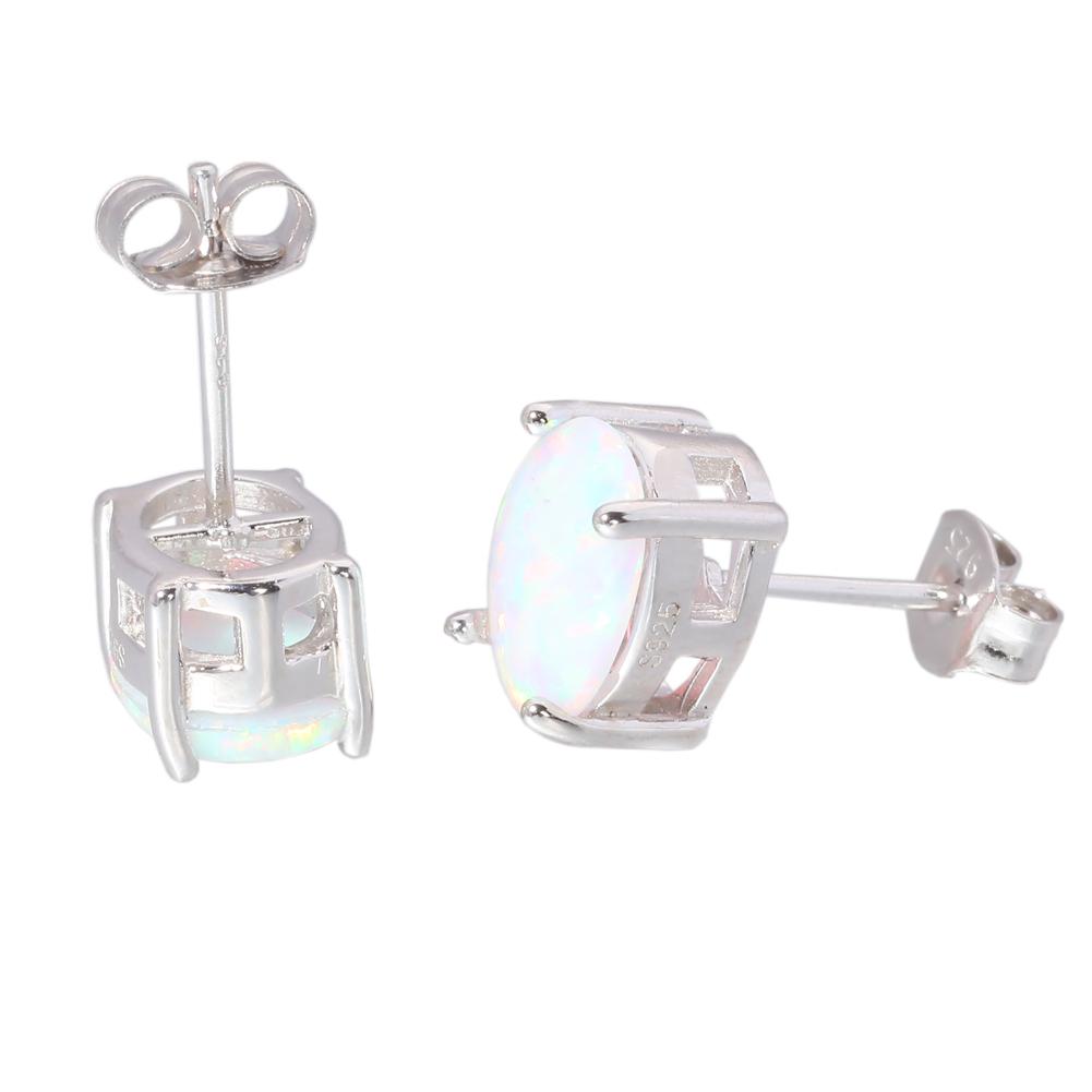 Blue White Opal 925 Sterling Silver Women Jewelry Gems Stud Earrings SE013-14