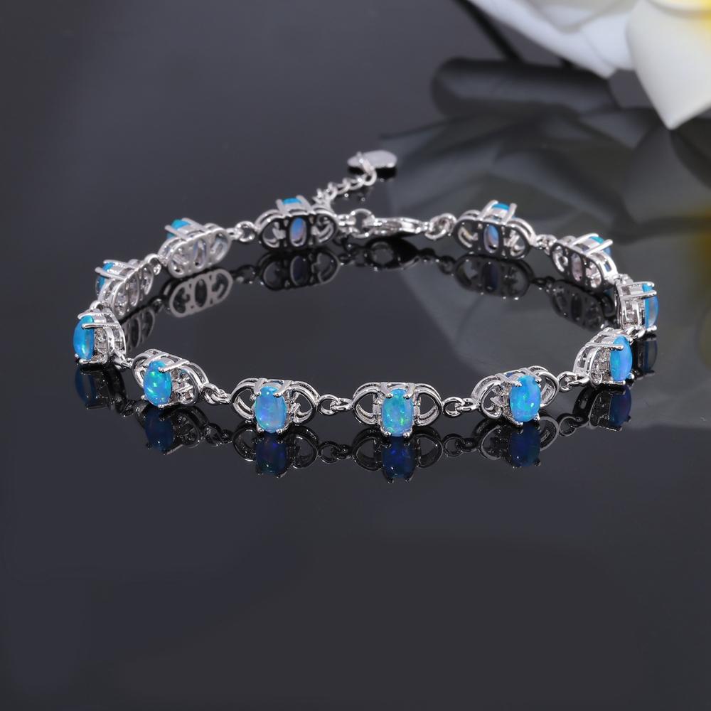 Blue Fire Opal Amethyst Zircon Silver Women Jewelry Gems Chain Bracelet OS586