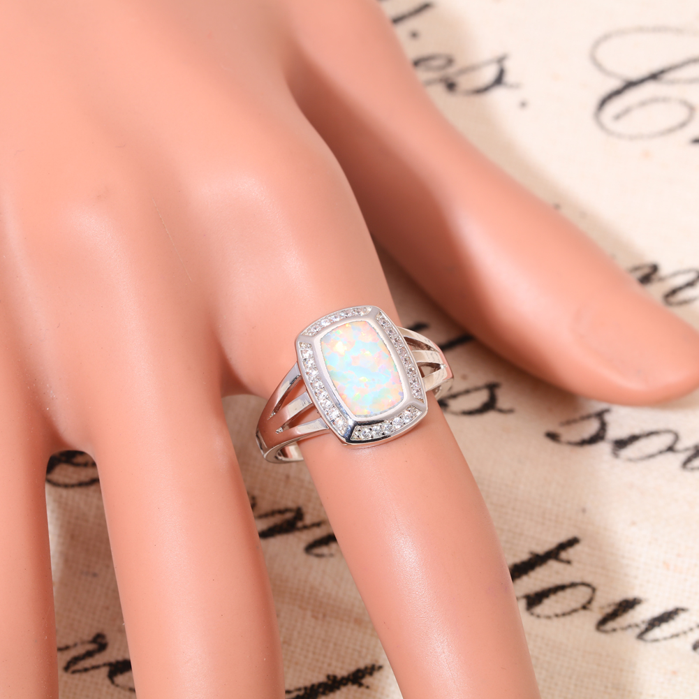 Blue fire opal blanc topaze cz Silver Women Jewelry Gems Ring Taille 7-10 OJ8526