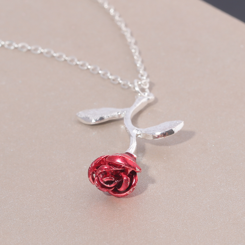 Rose Beauty and the Beast Final Rose Fleur Rose Argent or Collier NL249-51