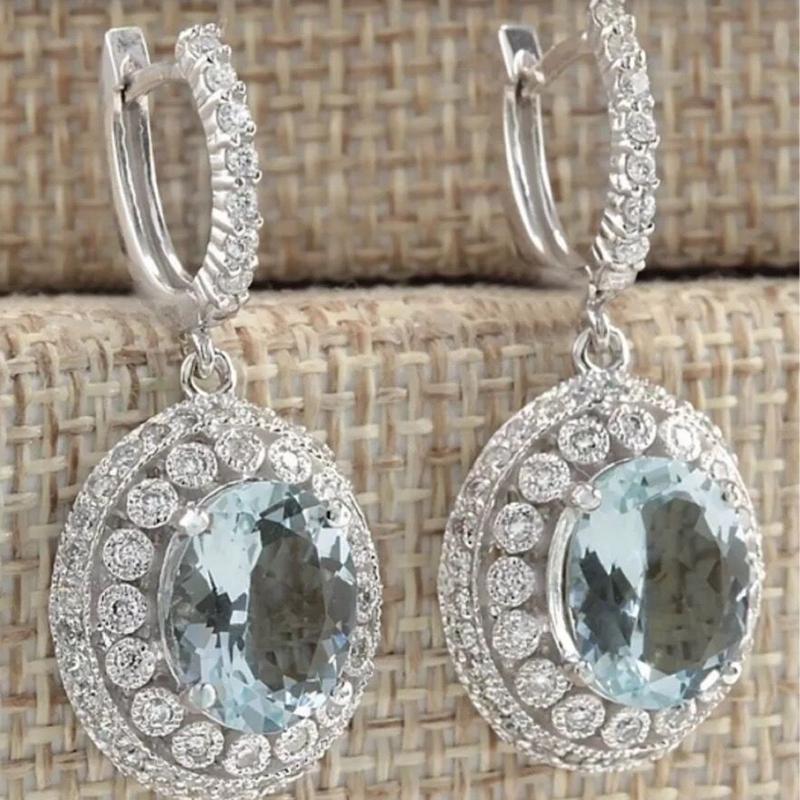 Delicate Crystal Zircon Silver Women Jewelry Flower Dangle Earrings Gift FH8822