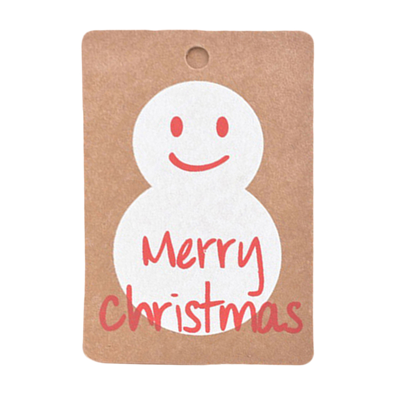 50pcs Merry Christmas Kraft Paper Christmas Hanging Tag