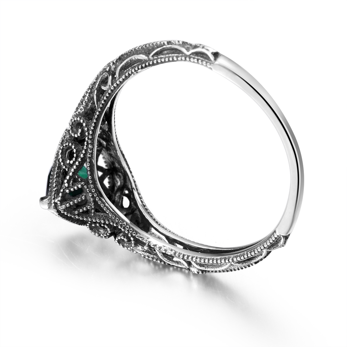Ring Genuine 925 Silver Rings Stone Women Emerald Green Promise ...