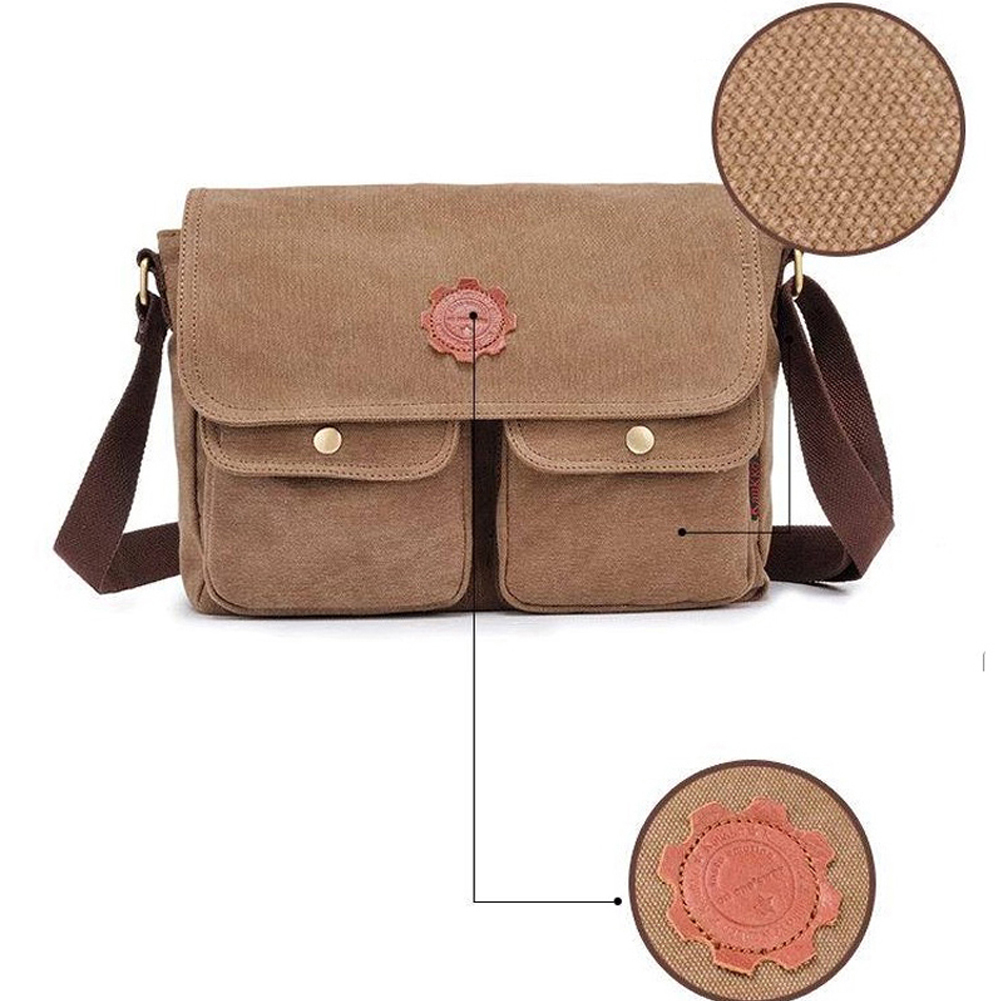 525937ae48 Details about Khahi Men Canvas Retro Shoulder Messenger Satchel Bag Purse  Cross Body Tote Bag