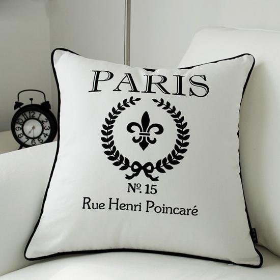 18x18-039-039-Black-White-Paris-Sofa-Seat-Throw-Cotton-Canvas-Cushion-Cover