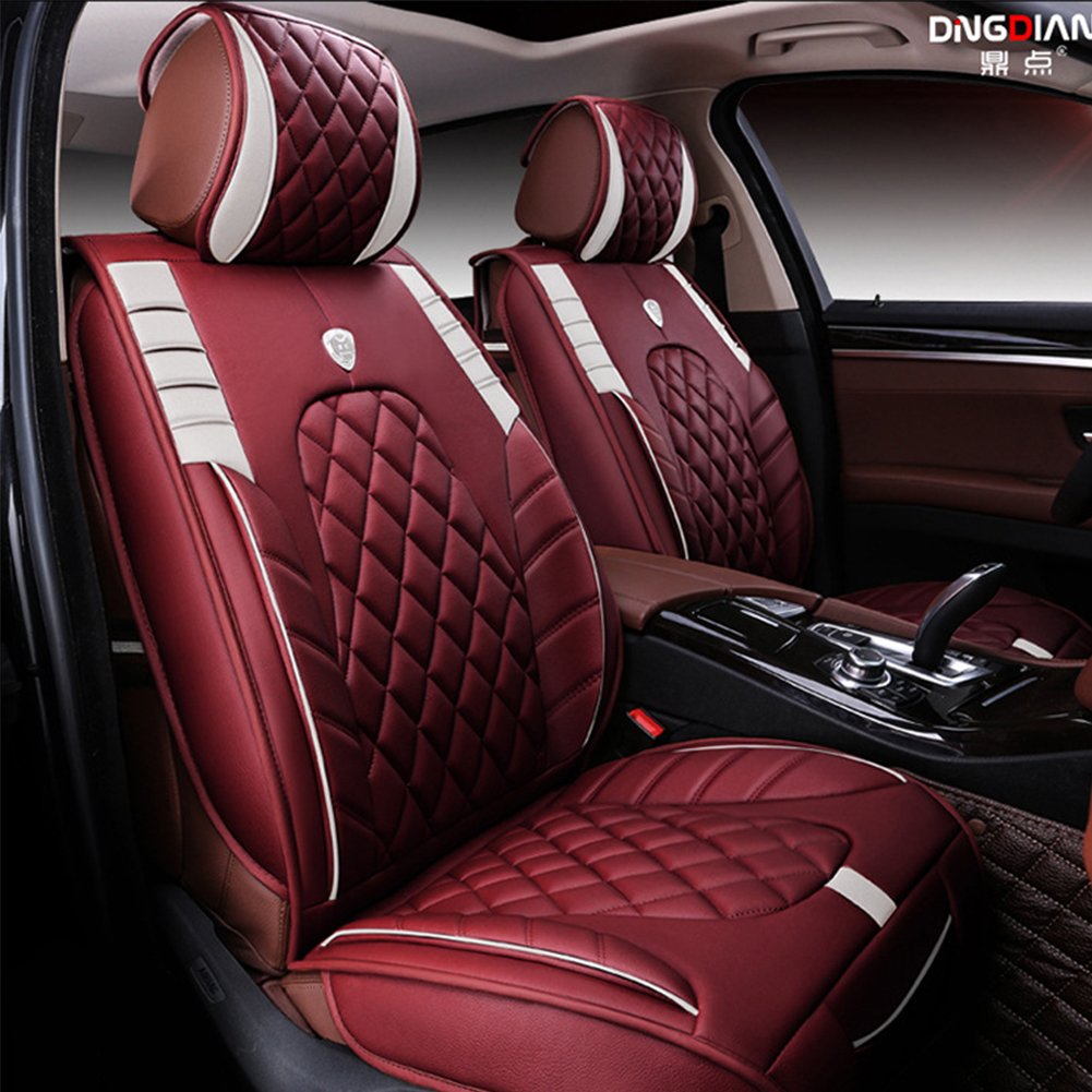 Wine Red Car Seat Cover Cushion Pu Leather Seat Protector