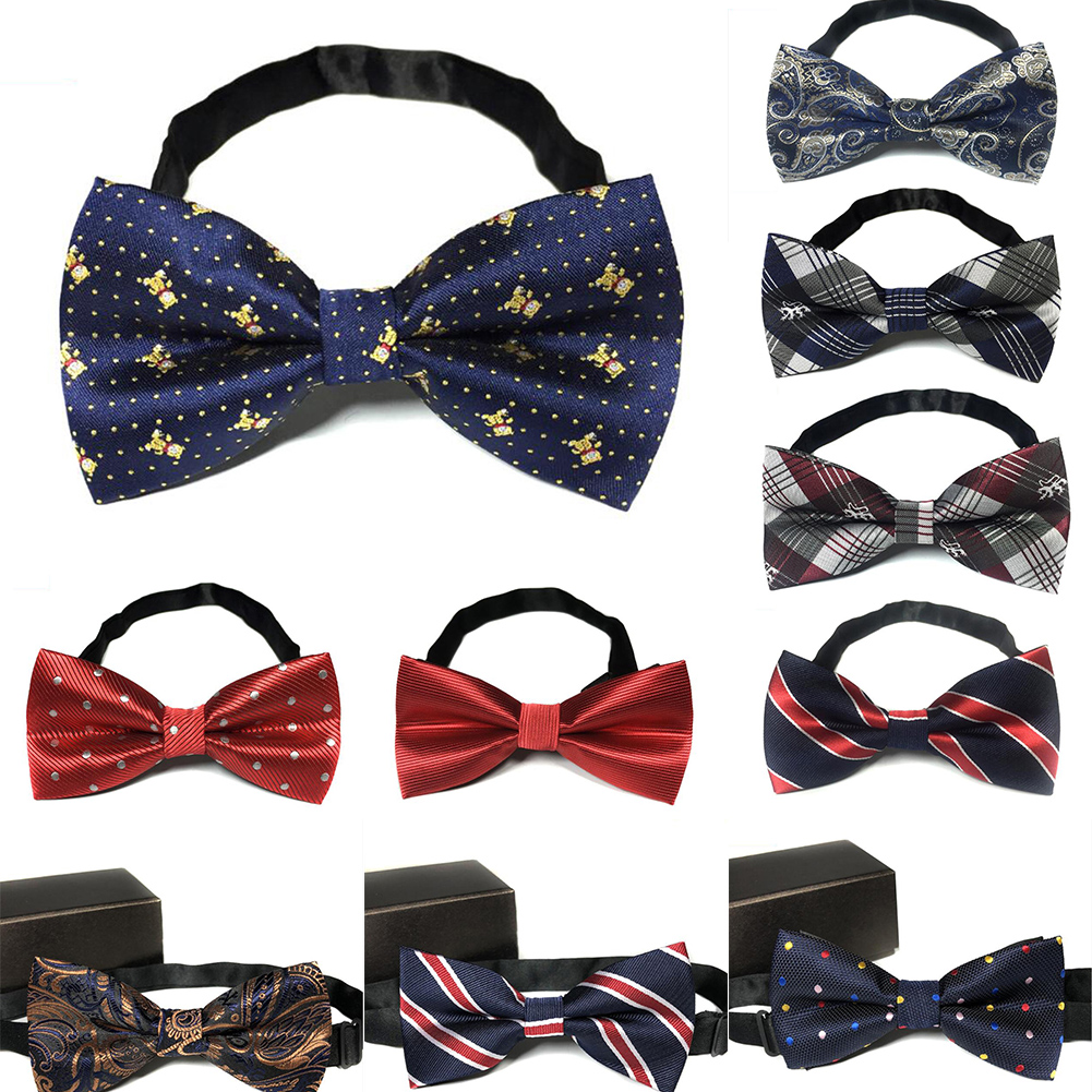 Mens Designer Bow tie Adjustable Wedding Formal Striped Plain BowTie Neckties