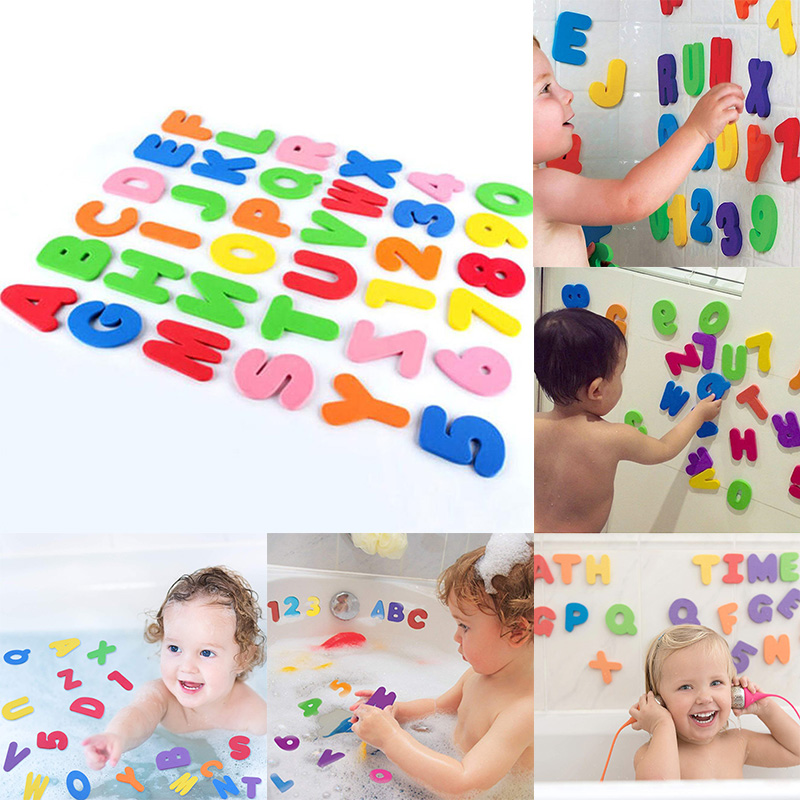 NEW 36PC FOAM BATH NUMBERS AND LETTERS TILE CHILD BABY KIDS BATH TOY WATER FUN