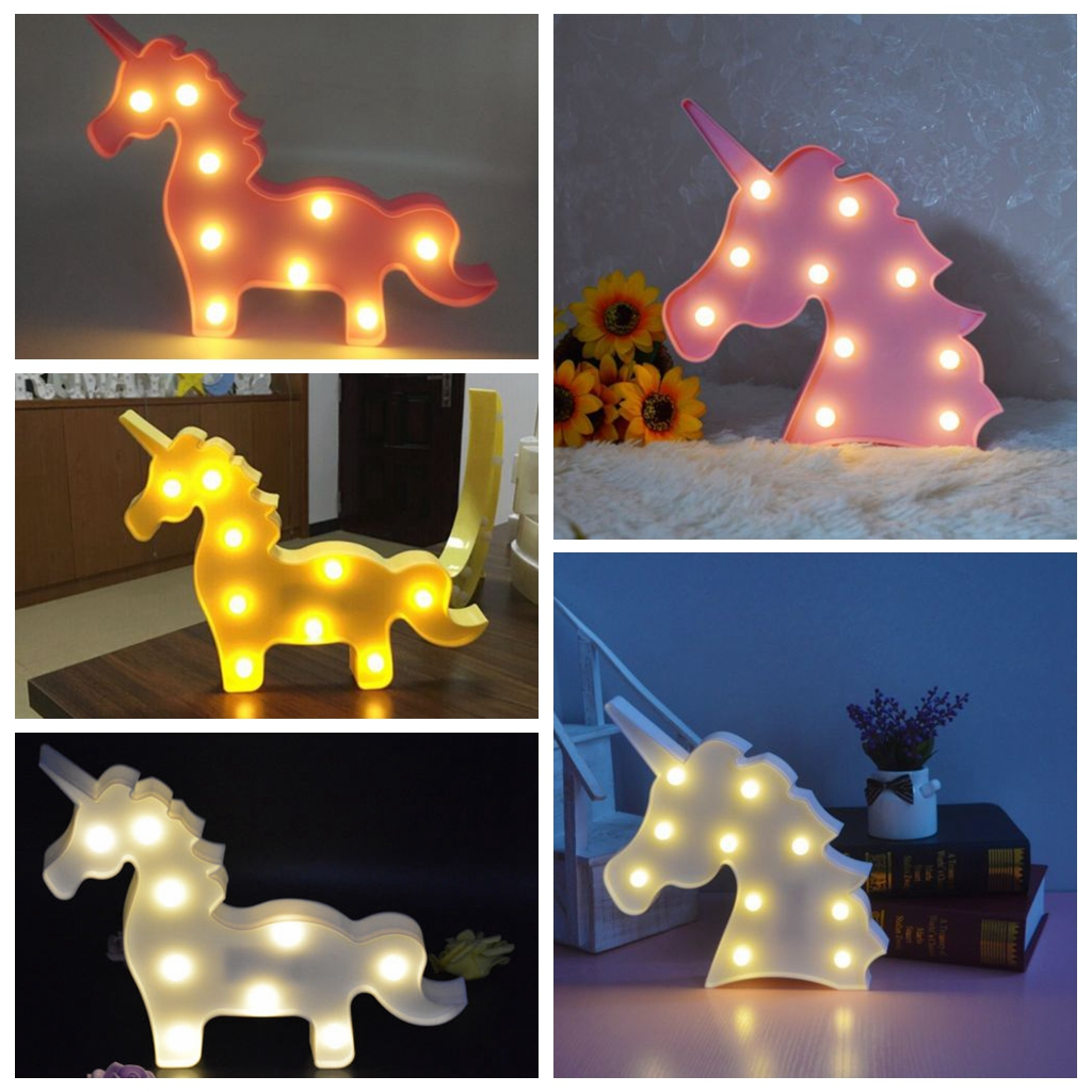 Cute Unicorn Head LED Unicorn Table Lamp Night Light Kids Room Lights Gift Decor