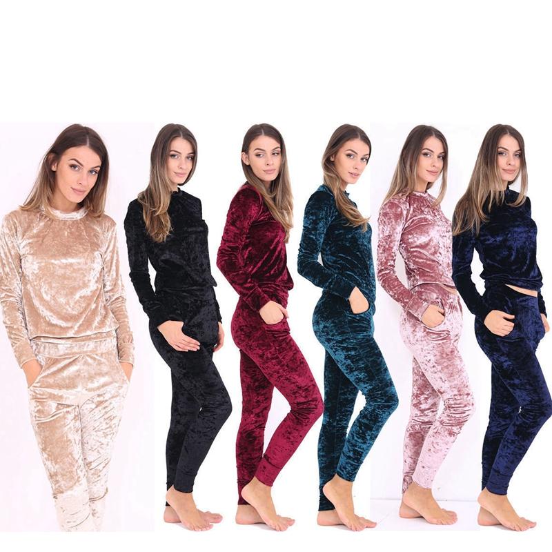 Womens Crushed Velour Velvet Jogging Ladies Loungwear Girls Sleepwear Tracksuit