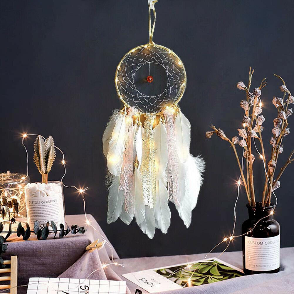 Feather Dream Catcher Led Light Up Wall Hanging Kids Bedroom Decor Dreamcatcher Ebay