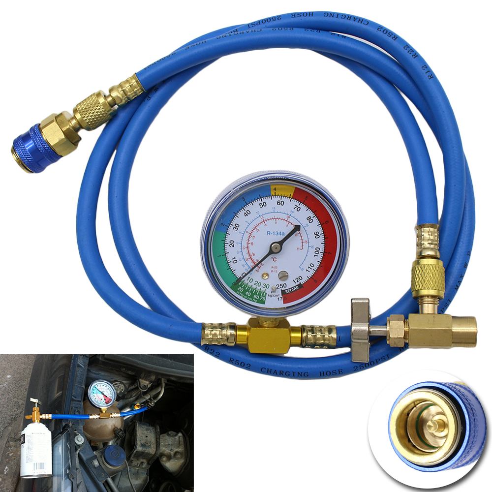 New Car Air Conditioning R134A AC Measuring Hose Pipe With Pressure Gauge 1.5m