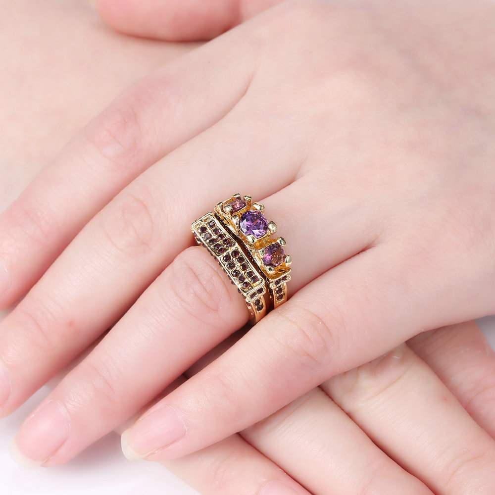 Gold filled Women Wedding Engagement Ring Set Amethyst Bridal Size 8 ...