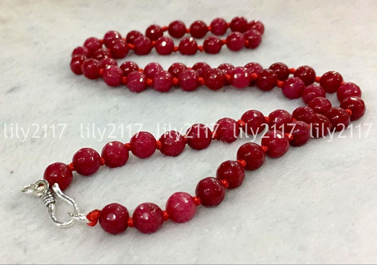 "Rare Handmade Natural Red Jade Gemstone Round Beads Necklace 18/"""