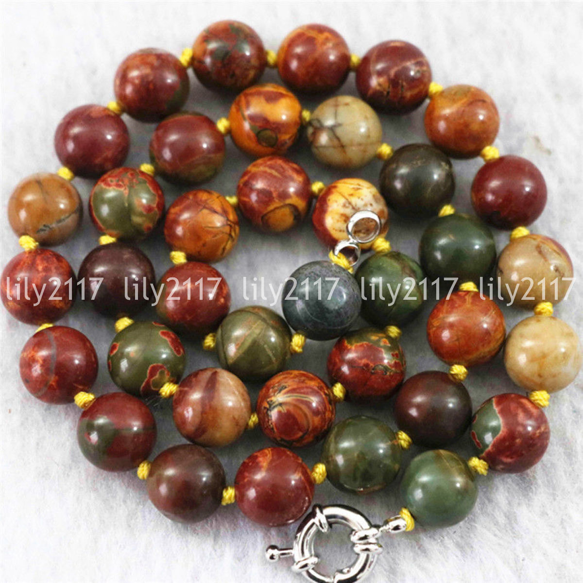 """AAA Natural 8mm Multicolor Picasso Jasper Gemstone Round Beads Necklace 18/"""" AAA"""