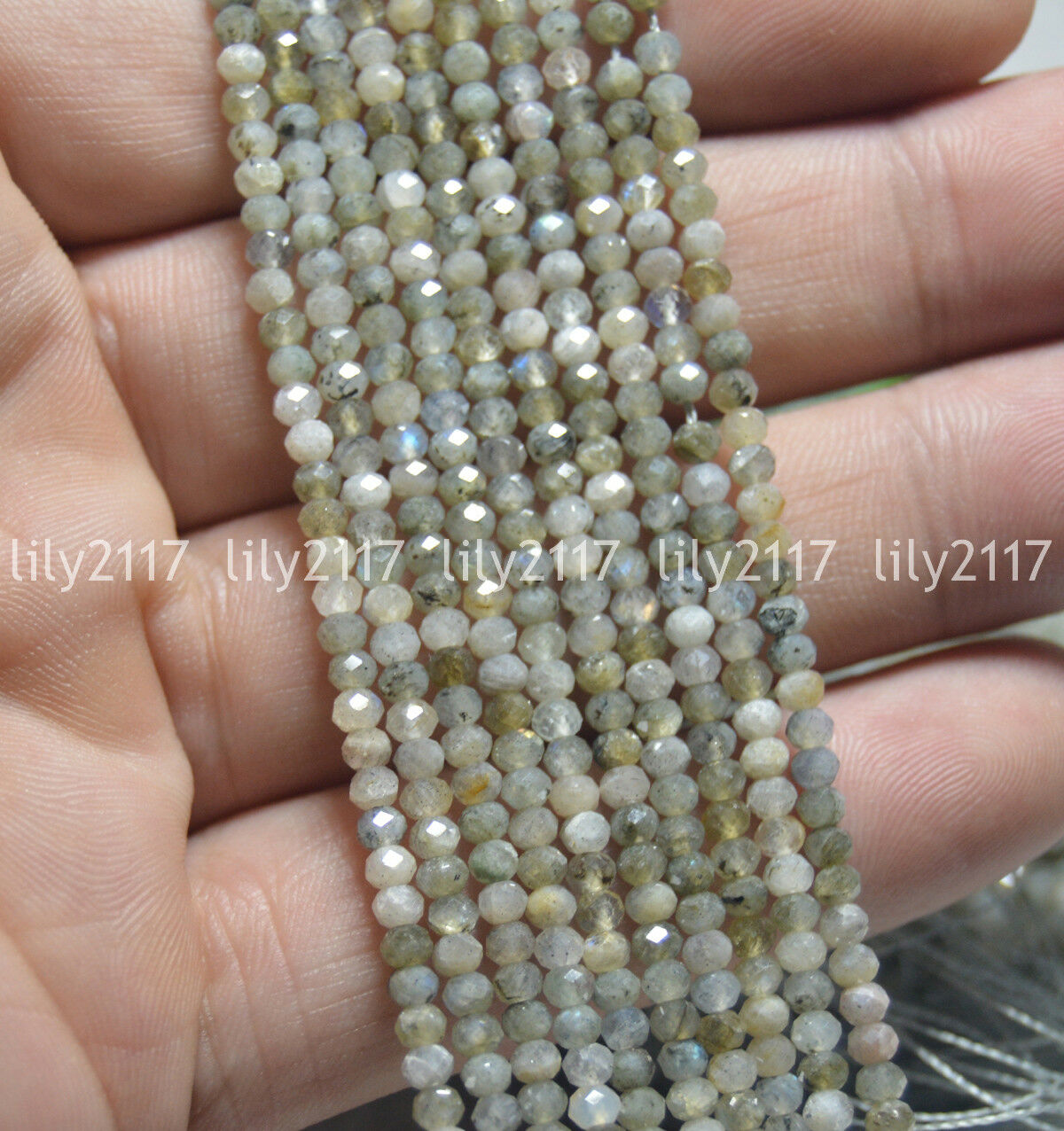 """Wholesale!AAA 15/"""" 2x4mm Black Gray Labradorite Faceted Roundel Gems Beads"""