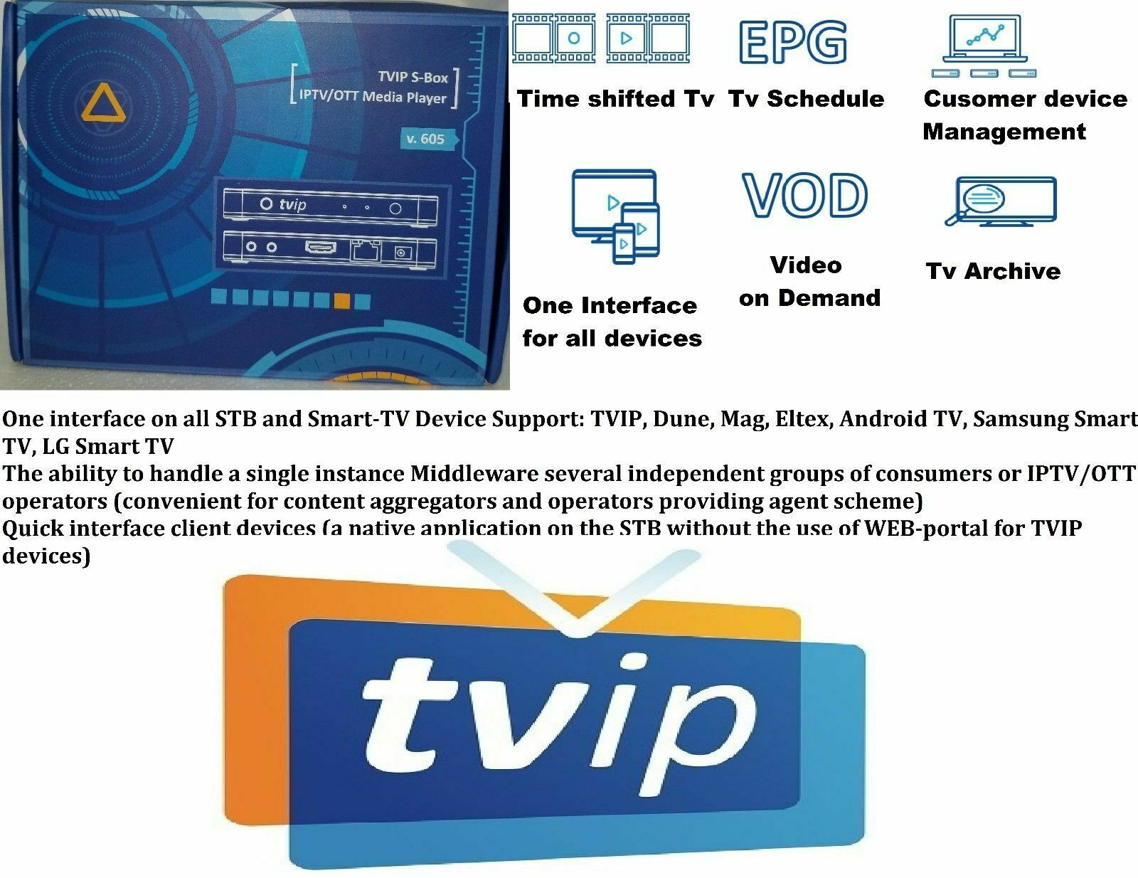 Details about TVIP 605 4K 3D TV Box HDMI Linux&Android Quad Core Dual WiFi  HD Stalker Streamer