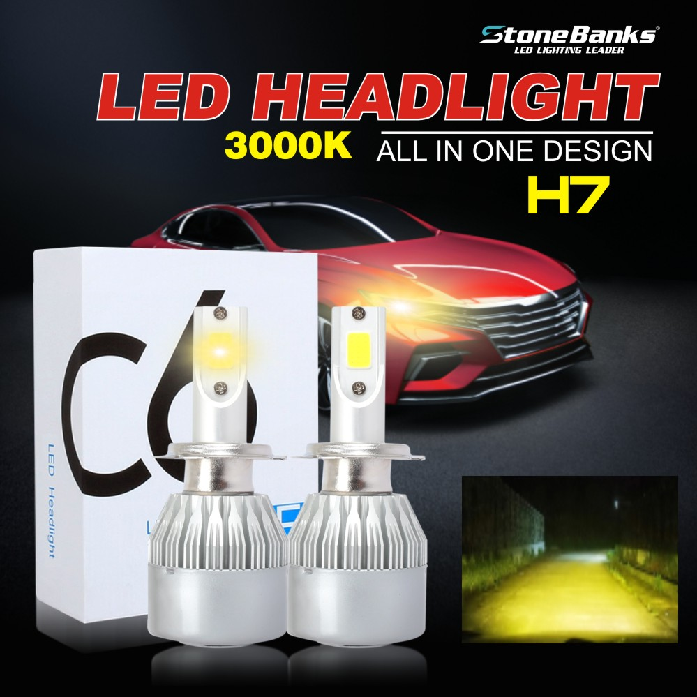 2X H11 COB LED Headlight Kit Car Light Bulb Hid Club 6000K High Power 20000LM