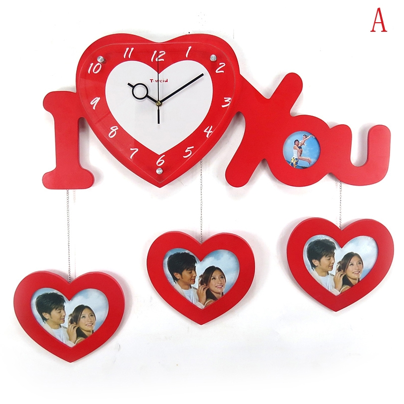 Modern Creative Photo Frame Simple Wooden Heart Shaped Love Mute