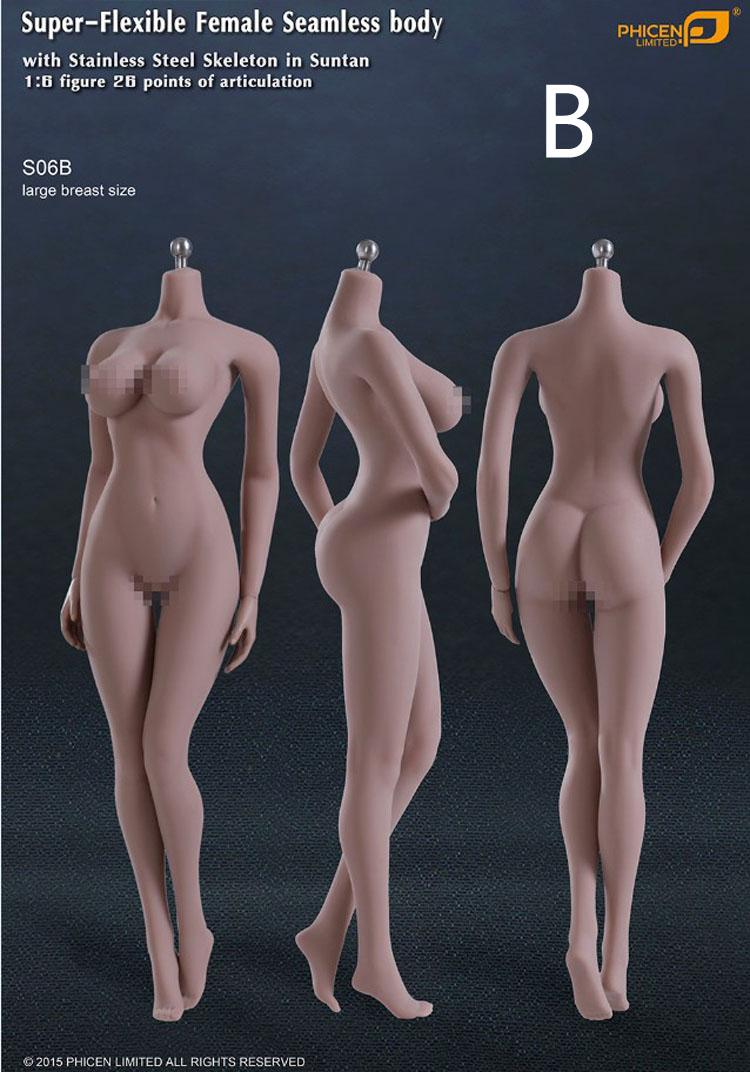 1//6 Phicen Steel Bone Female Body Wheat Color Large Seamless Foot S06B