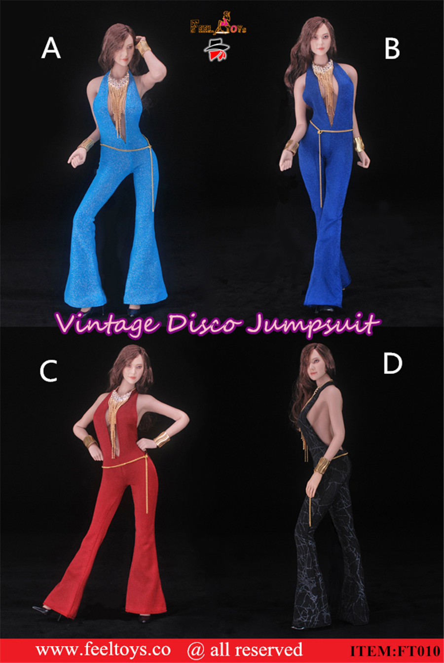 "Feeltoys FT010 1//6 Female Retro Disco Jumpsuit Clothes Slim fit 12/"" Figure Body"