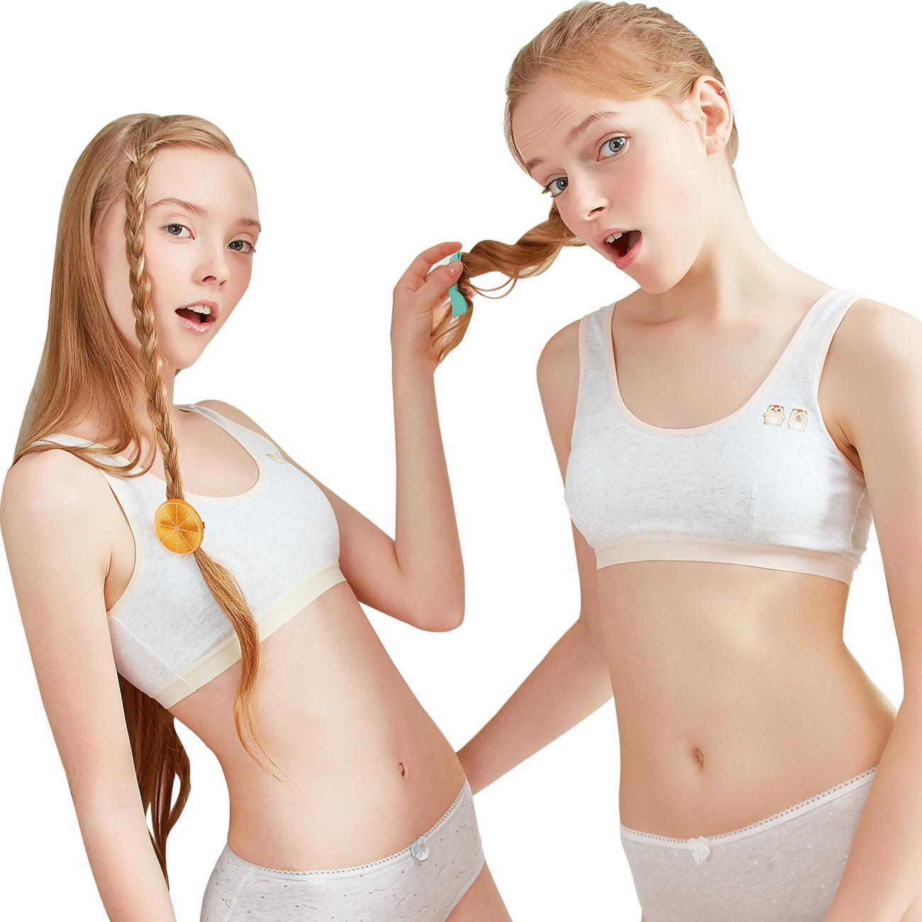 e58d0fcd6738c THREEGUN 2 Pack 100%Cotton Girls Teen Kid First Bra Children Training Bra A  Cup