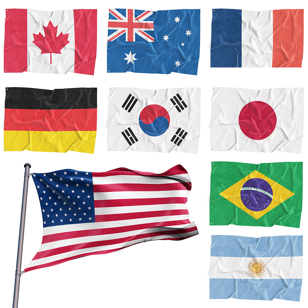 3/'x5/' Flag World Country National Polyester USA//Canada//UK Multinational Flags