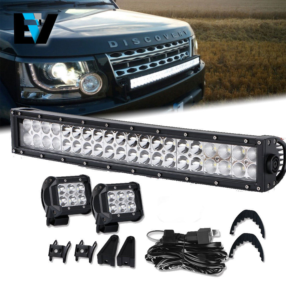 Land Range Rover 20Inch Curved LED Light Bar +2x4Inch Lamps+Wiring ...