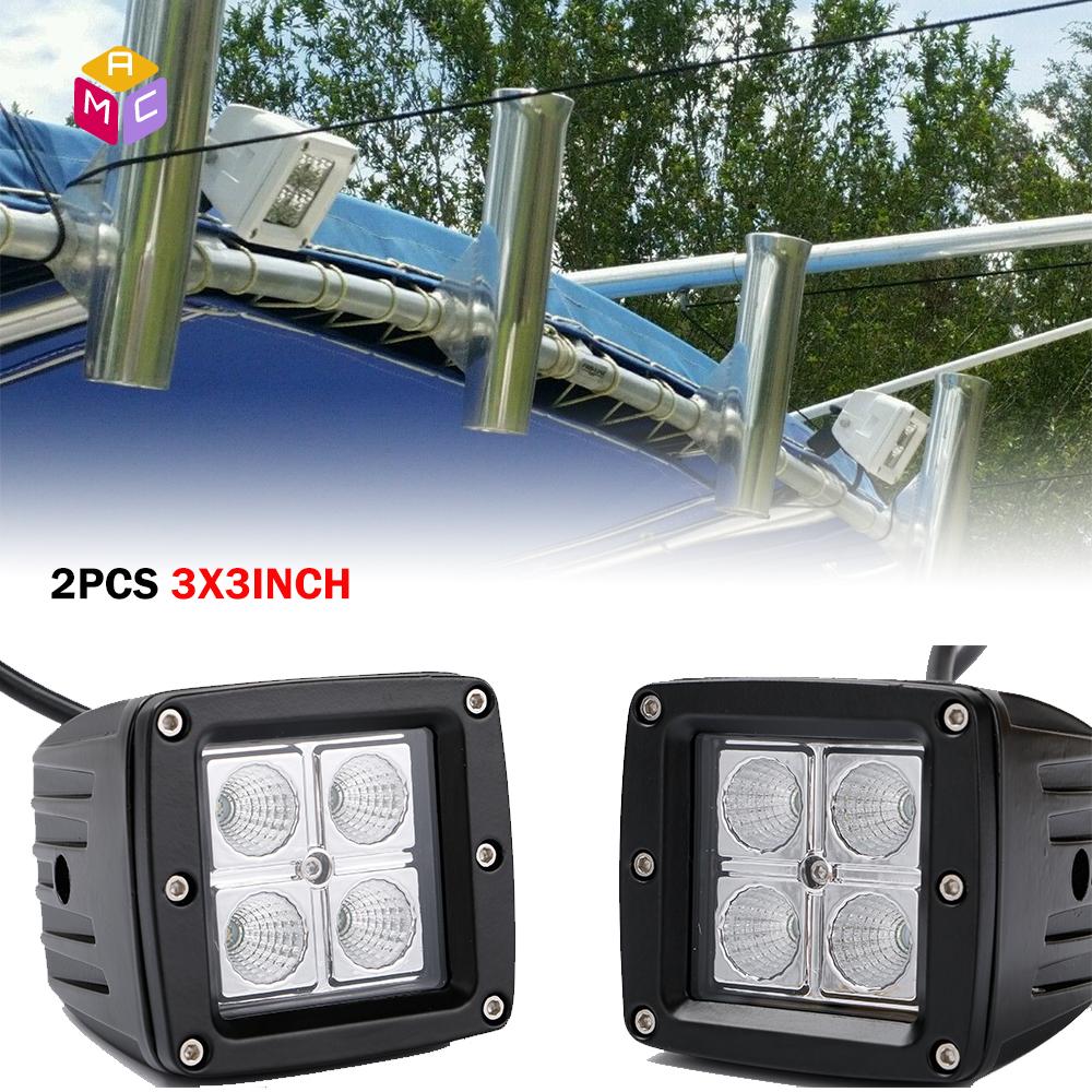 set of 2 18W Marne Spreader lights LED back for boat flood light 12v
