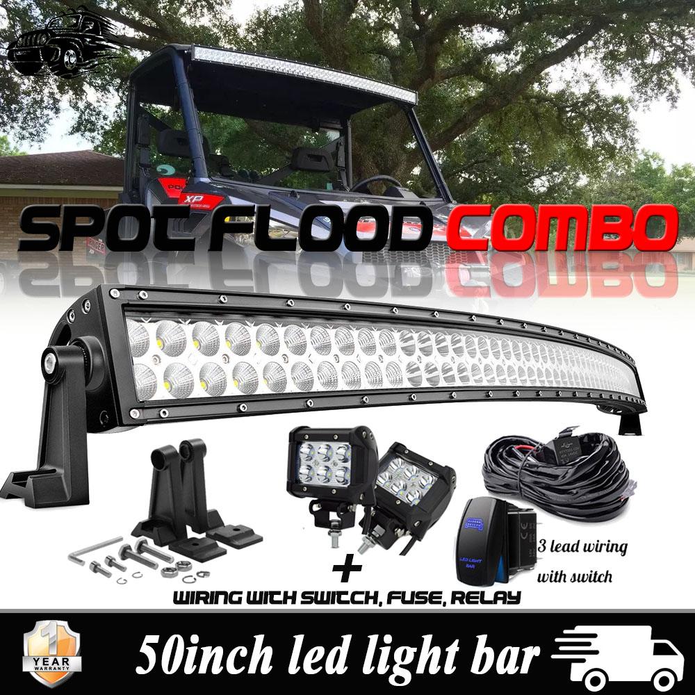 """50/"""" Led Light Bar Curved Spot Flood+Pods Lamp For Polaris XP 900 1000 Ranger 570"""