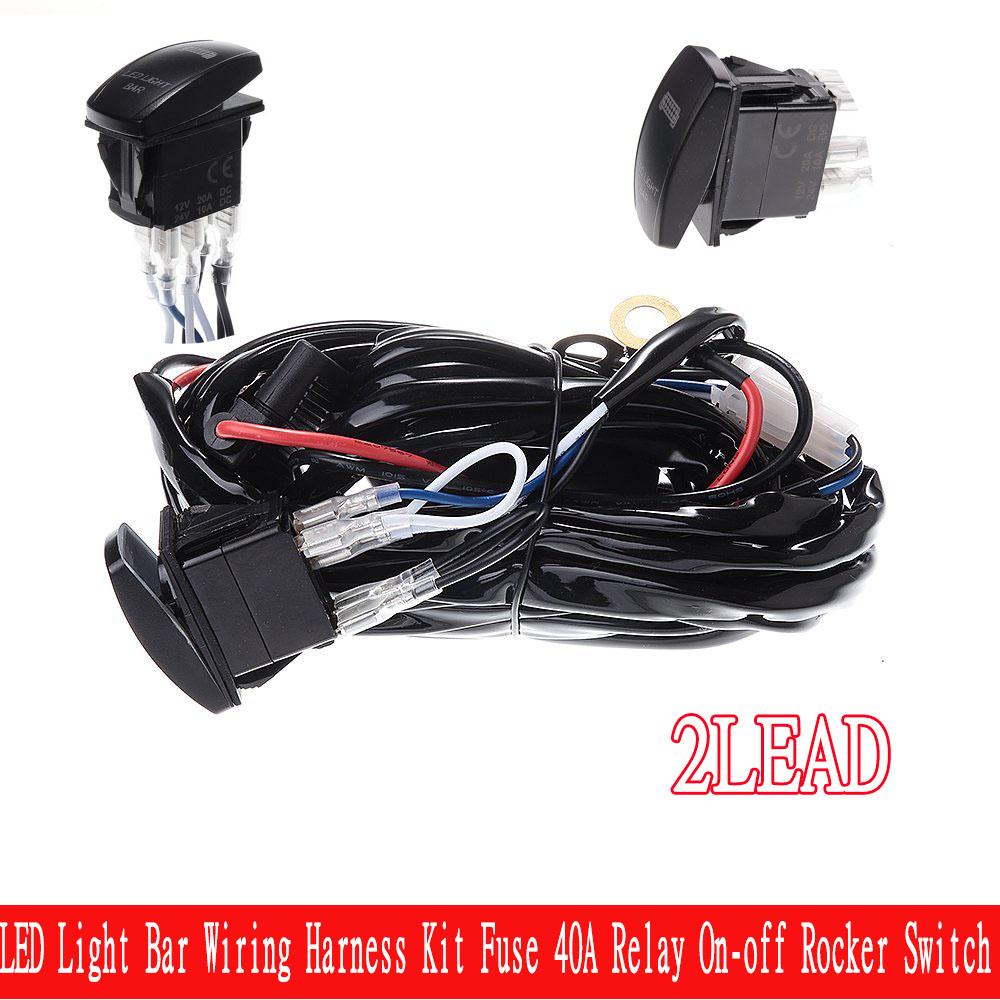 Led Light Bar Wiring Harness Kit Fuse On Off Rocker Switch40a Relay Lightbar For Polaris