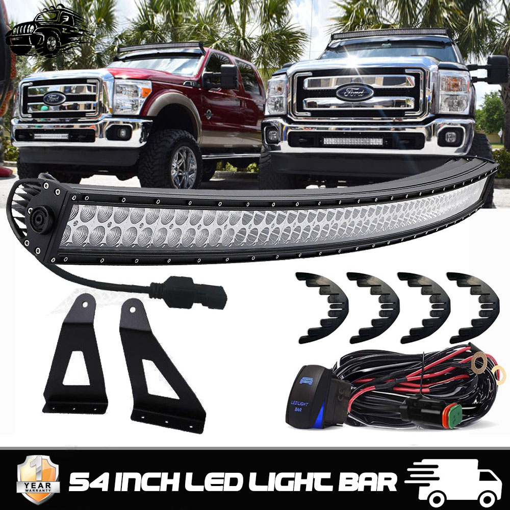 High Power 54 Curved Led Light Bar Mount Bracket Wiring Kit For 1974 F250 Harness Ford 350