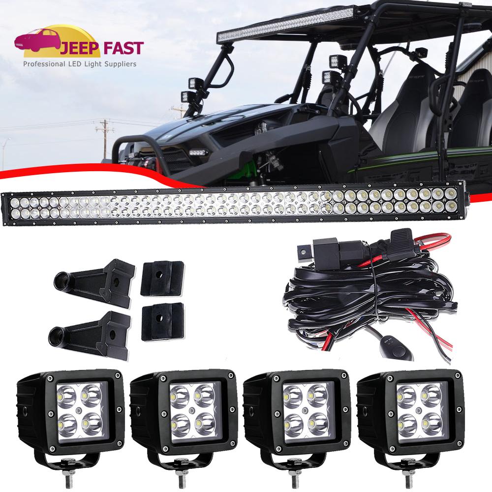 Utv Kawasaki Teryx4 800 2014 2018 40 Led Light Bar Combo Wiring Fog Lights Harness For Pods Kit