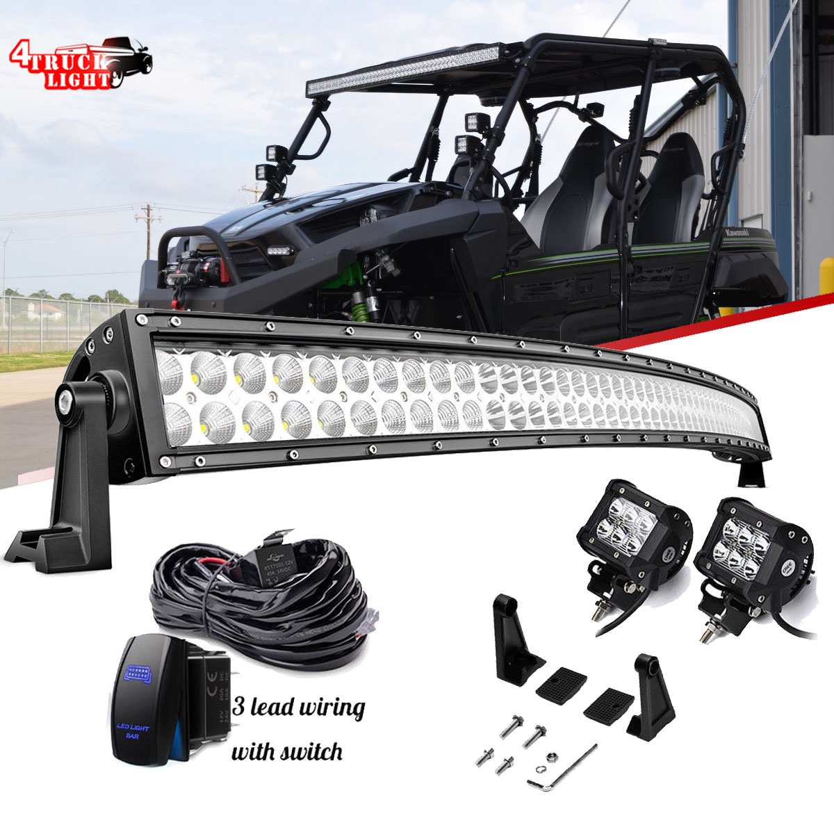 4 Pods Cube 288w 50 Curved Led Light Bar Kawasaki Teryx Teryx4 4010 Electrical Wiring Harness Mule 610