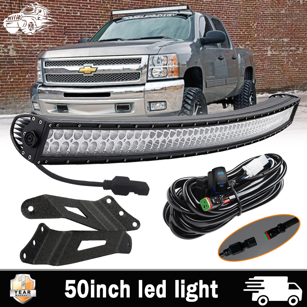 Details About Curved 50 Led Light Bar W Windshield Mounting Bracket For Gmc Chevy Suburban
