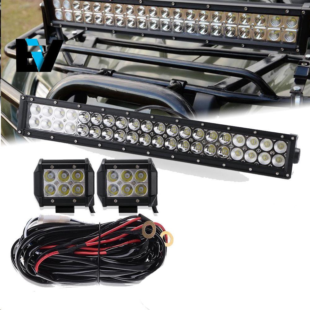 20 Led Light Bar For Cat Atv Utv Quad 4 Wheeler W 2x Pods Wiring Harness Artic Wire Kit