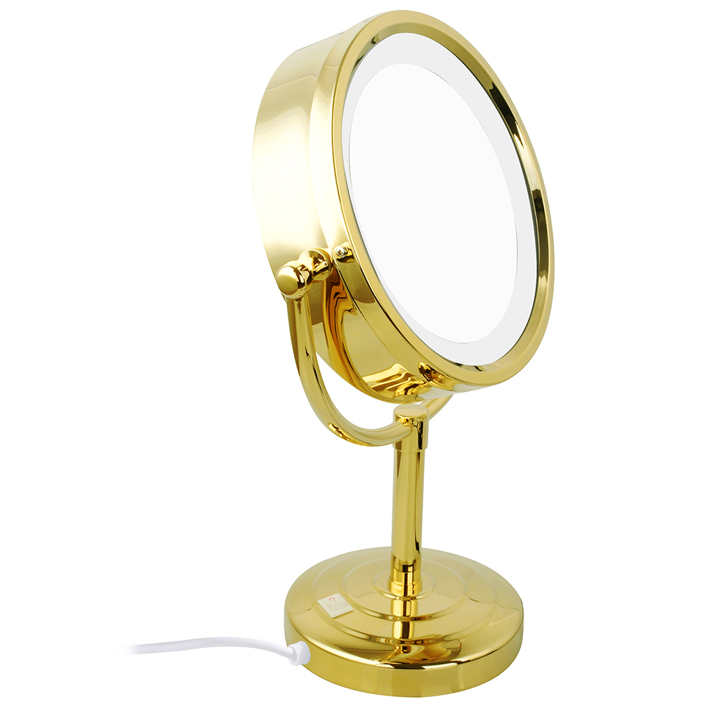 Gurun Gold Tabletop Vanity Lighted Makeup Mirrors Stand