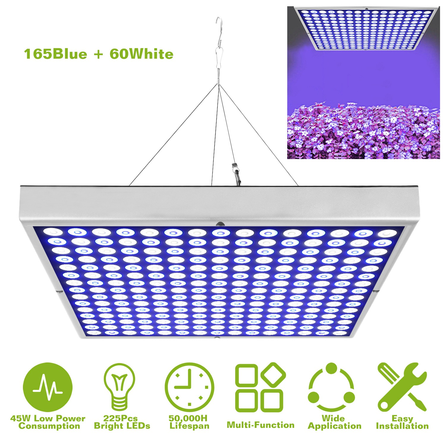 Details About 45w Led Grow Light Panel Indoor Hydroponic Plants Veg Flower For All Grow Stage