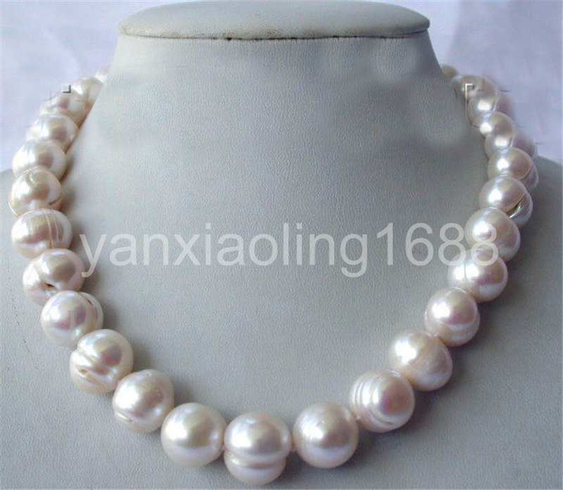 """freshwater pearl white baroque 12-14mm necklace 17/"""" nature wholesale beads fashi"""