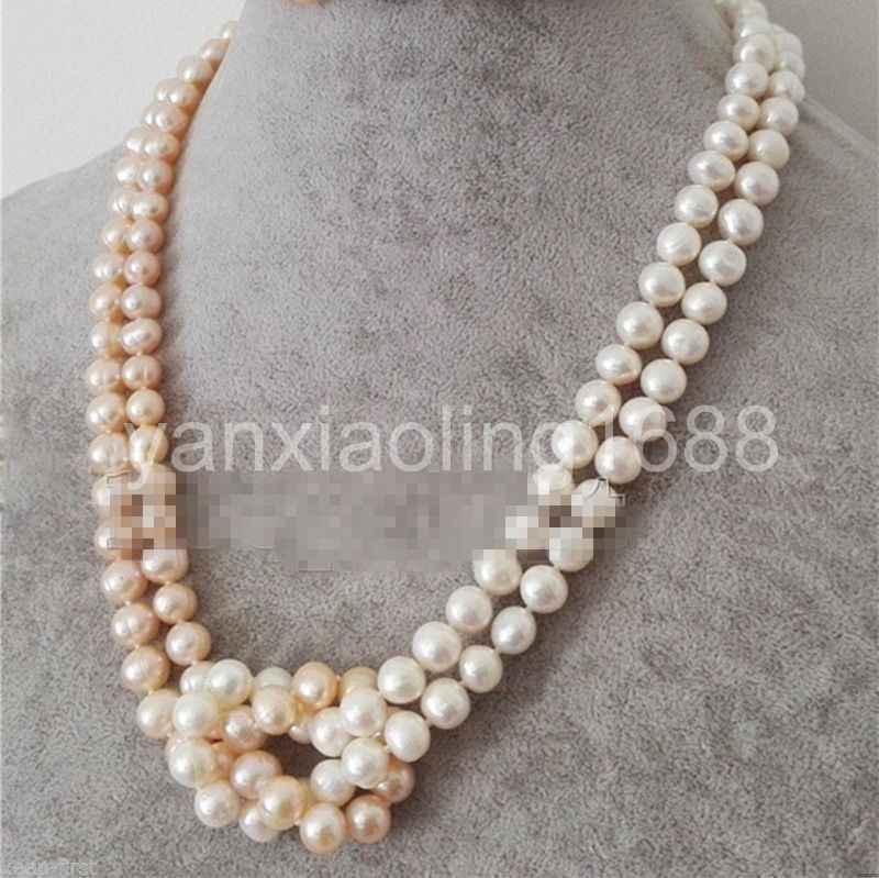 Fashion 2 Rows 7-8mm Natural Black Akoya Fresh water Cutured Pearl Necklace AAA