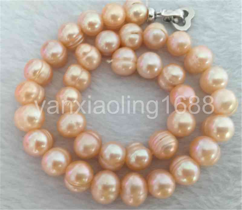 elegant  12-13mm south sea gold pink baroque  pearl necklace18inch