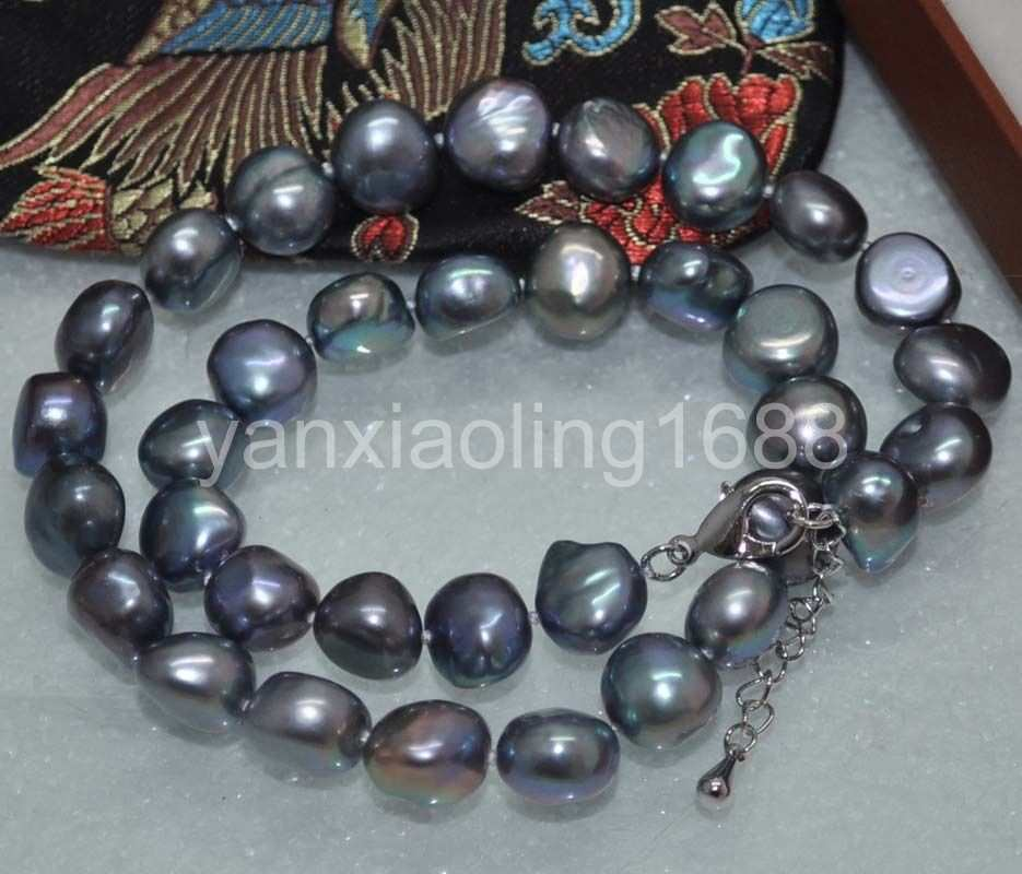 Beautiful peacock black 12mm nugget freshwater Pearl Necklace