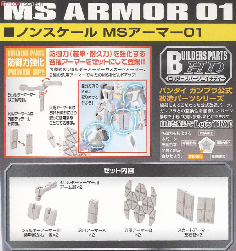 Gundam Bandai 785473 Builders Parts HD MS Tank 01 non-scale kit