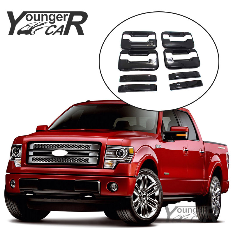 Door Handle Covers For 2004-2014 Ford F150 Crew Cab GLOSS BLACK w//o psk w//keypad