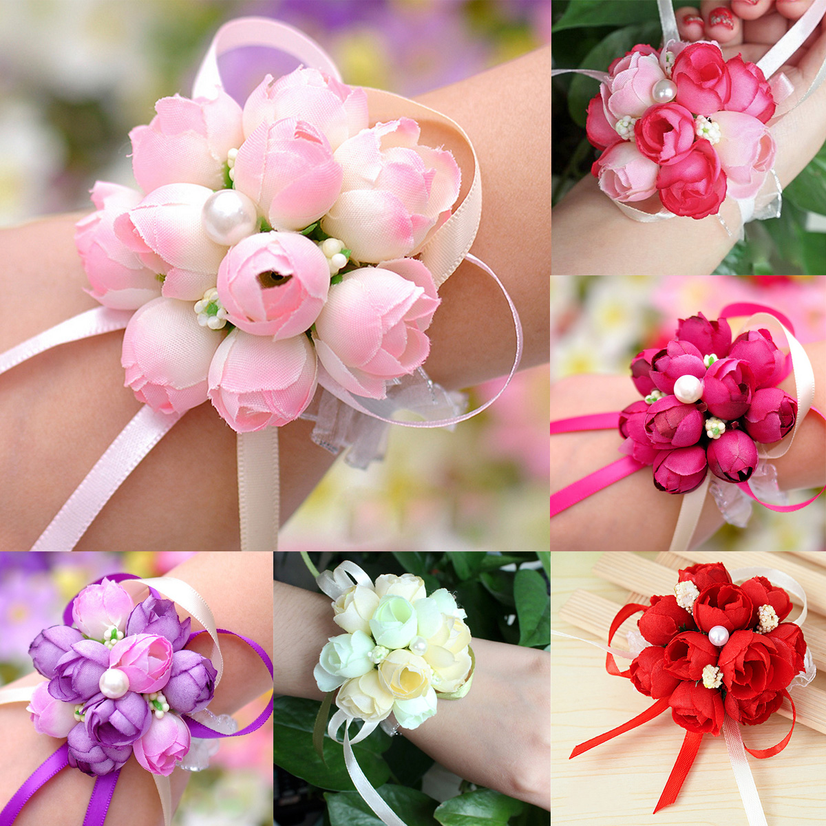Beautiful Wrist Corsage Bracelet Bridesmaid Sisters Hand Flowers ...