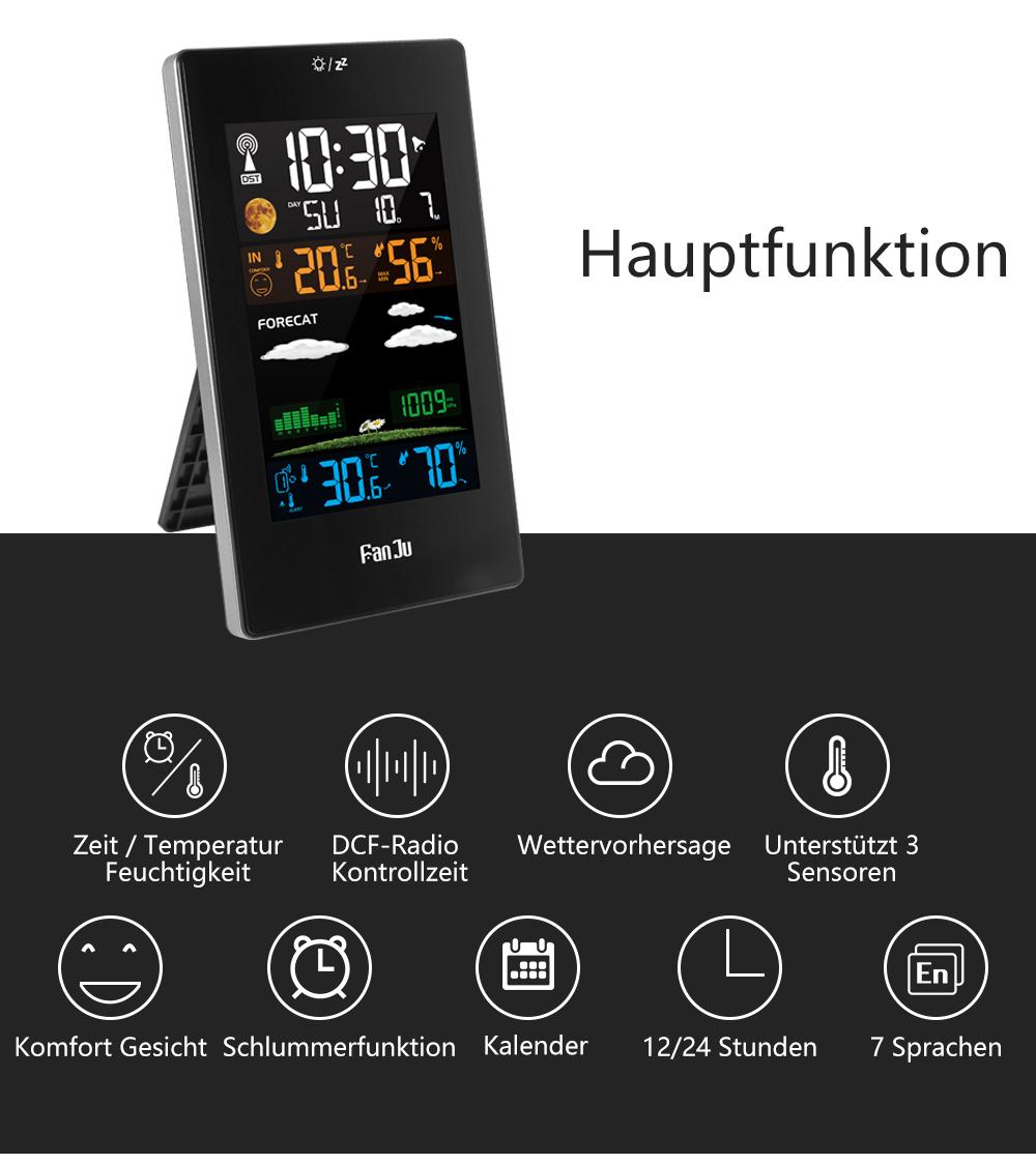 FanJu FJ3389 Funk Wetterstation LCD Farbdisplay Digitales Thermometer Hygrometer
