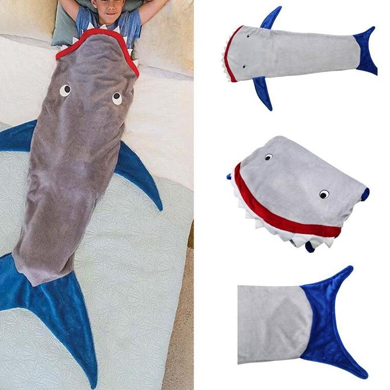 Kids Shark Mermaid Tail Fleece Blanket Snugglein Cosy Sleeping - Sleeping bag shark