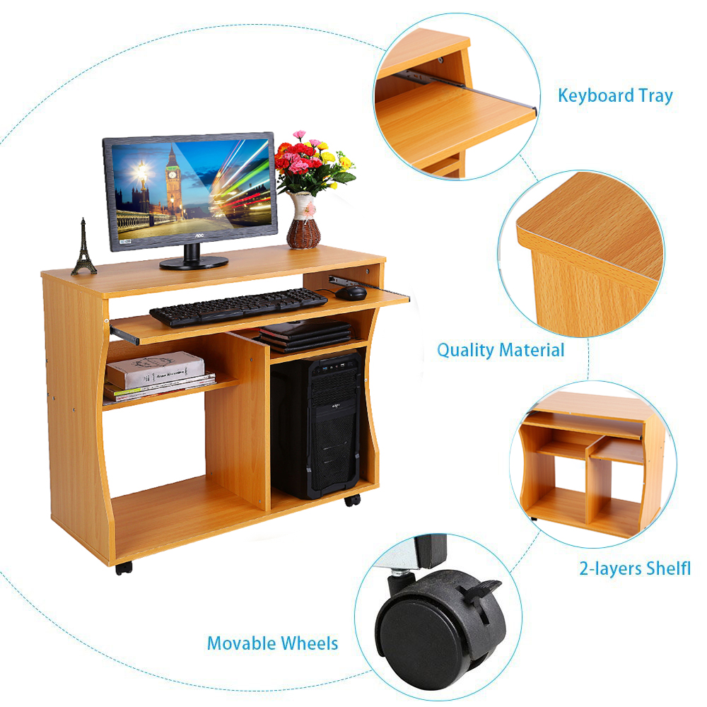 Wooden Home Office Computer Desk Study Furniture Mobile Workstation Laptop Table